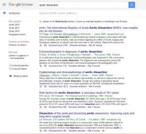 Google scholar met treffers over aorta dissecties
