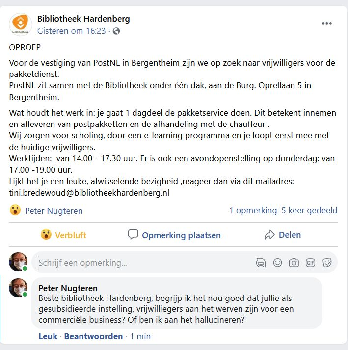 Oproep vrijwilligers bibliotheek Hardenberg